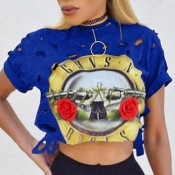Leisure Round Neck Short Sleeves Printed Hollow-out Royalblue Polyester T-shirt