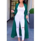 Trendy Turndown Collar Long Sleeves Green Satin Long Trench Coats