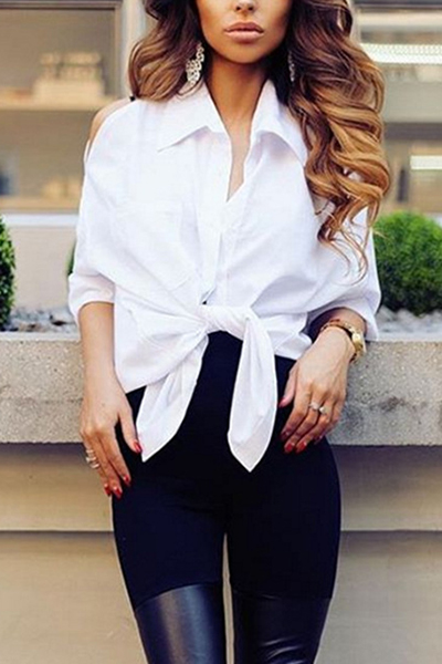 Fashionable Turndown Collar Long Sleeves Hollow-out White Blending Shirts