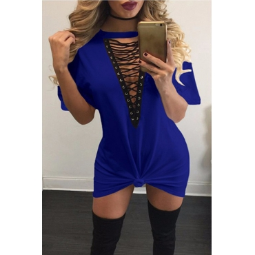 Sexy Deep V Neck Half Sleeves Hollow-out Blue Polyester Mini Dress