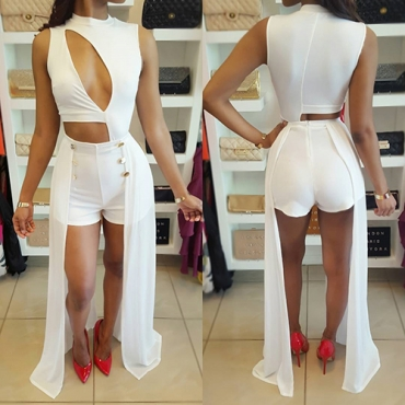 Sexy Round Neck Sleeveless Hollow-out White Healthy Fabric One-piece Skinny Jumpsuits