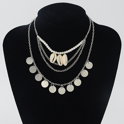 Stylish Multilayer Shell Decorative Metal Necklace