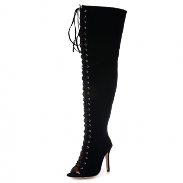 Trendy Ronda Peep Toe Lace-up Hollow-out Negro Suede Stiletto Super Alto Tacón Sobre La Rodilla Botas