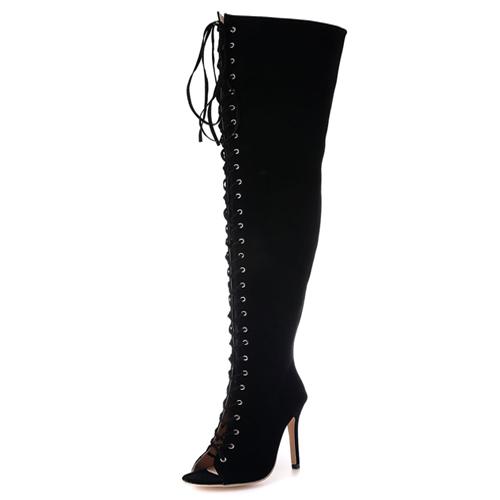 Enrugada na moda de Peep Toe-até oco-out preto sueter stiletto súper salto alto sobre o joelho botas