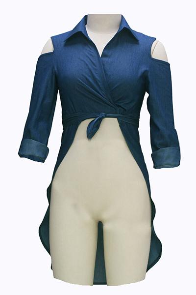 Sexy Turndown Collar Long Sleeves Asymmetrical Blue Denim Shirts