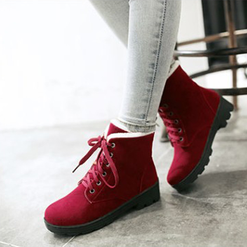 Stylish Round Toe Lace-up Wedge Mid Heel Red Suede Martin Boots