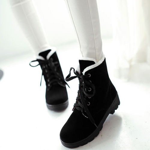 Stylish Round Toe Lace-up Wedge Mid Heel Black Suede Martin Boots