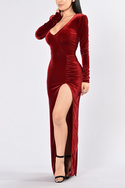 Sexy V Neck Long Sleeves Side Split Red Velvet Floor length Dress