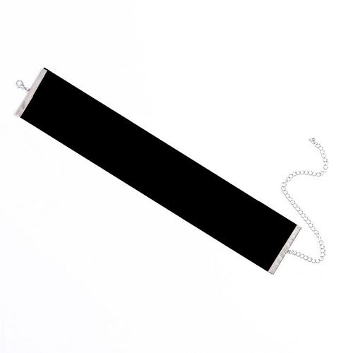 Euramerican Wide Cloth Design Black Flocking Choker