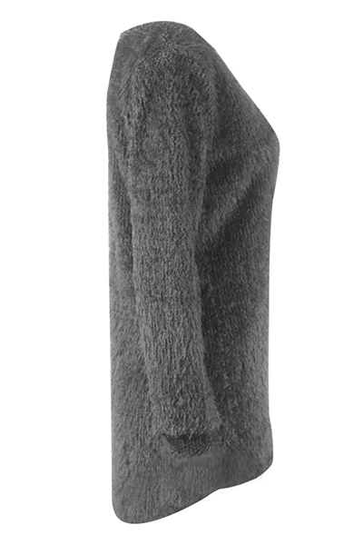 Trendy Round Neck Long Sleeves Grey Velvet Sweater