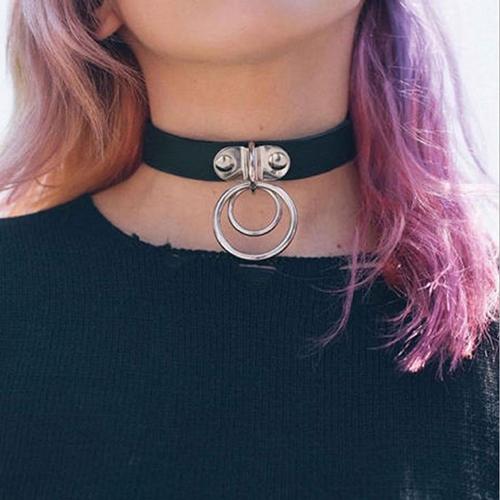 Euramerican Metal Ring Decorative Black Choker