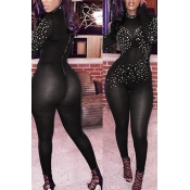Sexy Turtleneck Long Sleeves Rhinestone Decorative Black Gauze One-piece Jumpsuits