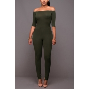 Contracted Style Strapless Half Sleeves Green Qmil