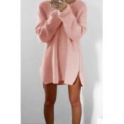 Stylish Round Neck Long Sleeves Zipper Design Pink Acrylic Sweater