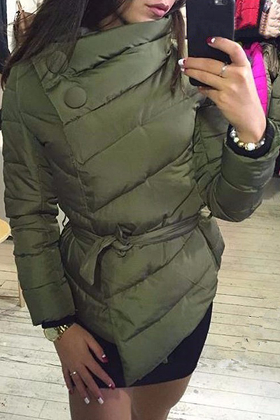 Stylish Long Sleeves Asymmetrical Army Green Cotton Parkas