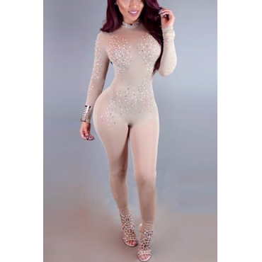Sexy Turtleneck Long Sleeves Rhinestone Decorative Apricot Gauze One-piece Jumpsuits