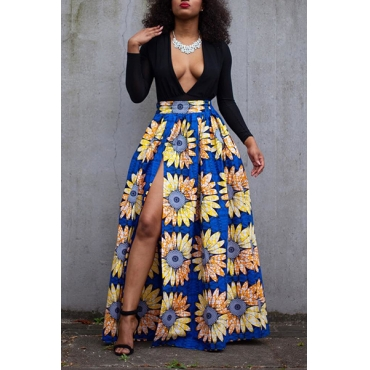 Sexy Deep V Neck Long Sleeves Qmilch Floral Print Qmilch Two-piece Skirt