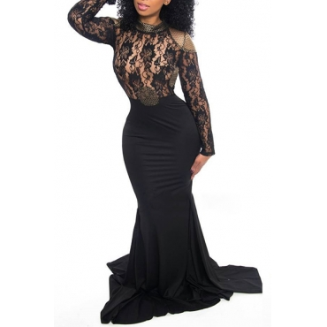 Sexy Round Neck Long Sleeves Backless Black Qmilch Sheath Floor length Dress
