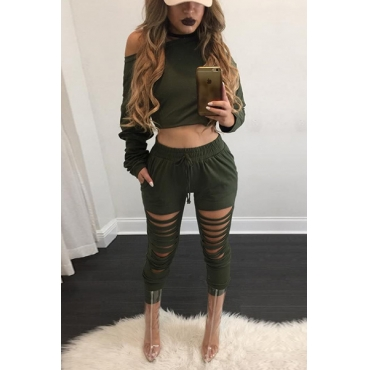 Leisure Round Neck Long Sleeves Hollow-out Green Cotton Blend Two-piece Pants Set
