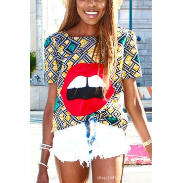 Leisure Round Neck Short Sleeves Lip Printed Polyester T-shirt