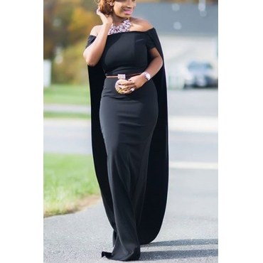 Fashion Bateau Neck Short Sleeves Cloak Design Black Polyester Floor length Dress