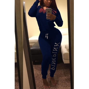 Leisure Turtleneck Long Sleeves Letters Printed Blue Qmilch Two-piece Pants Set