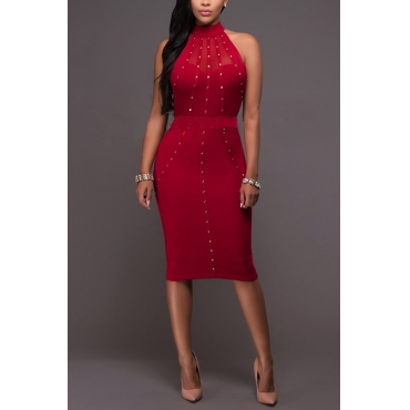 Trendy Mandarin Collar Sleeveless Rhinestone Decorative Red Healthy Fabric Knee Length Dress
