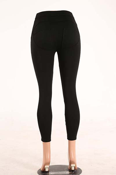 Stylish Mid Waist Polyester Patchwork Black Polyester Leggings