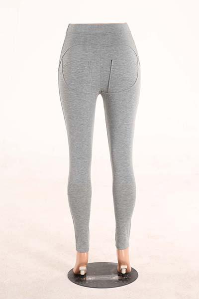 Stylish Mid Waist Polyester Patchwork Grey Polyester Leggings