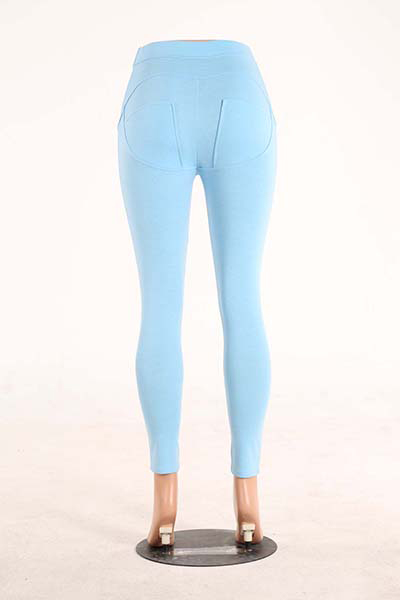 Elegante Mid Waist Polyester Patchwork Blue Polyester Leggings