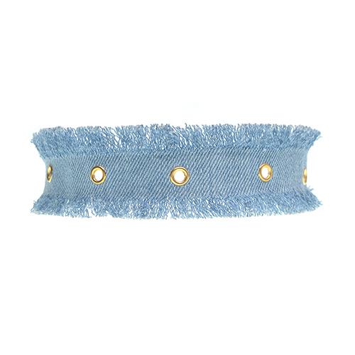 Fashion Metal Holes Decorative Light Blue Fabric Choker