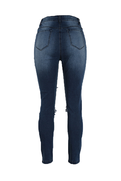 Trendy High Waist Broken Holes Blue Cotton Pants