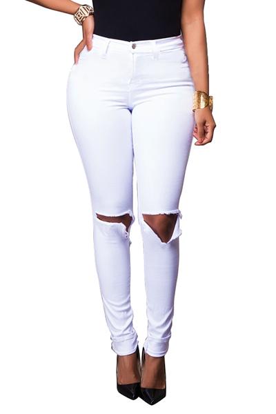 stilvolle hohe taille gebrochene l cher wei e baumwolle skinny pants jeans bottoms. Black Bedroom Furniture Sets. Home Design Ideas