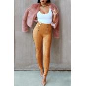 Stylish High Waist Double-breasted Decorative Khaki Cotton Skinny Pants