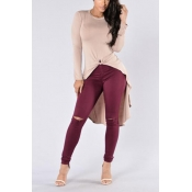 Leisure Round Neck Long Sleeves Asymmetrical Pink