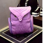 Stylish Owl Shaped Design Purple PU Backpacks