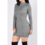 Contracted Style Round Neck Long Sleeves Grey Poly