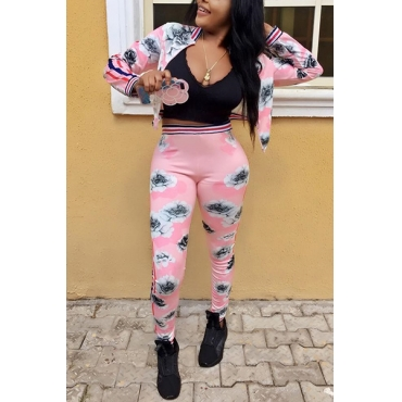 Euramerican Round Neck Long Sleeves Printed Pink Polyester Two-piece Pants Set