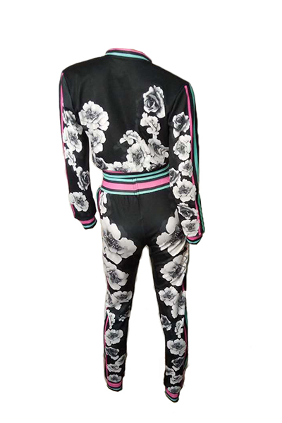 Euramerican Long Sleeves Print Black Polyester Two-piece Pants Set(Jacket+Pants)