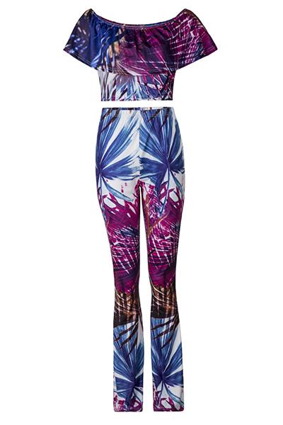 Leisure Bateau Neck Short Sleeves Qmilch Two-piece Pants Set