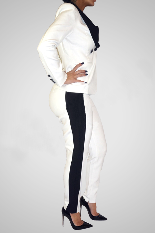 Stylish Long Sleeves Black-white Patchwork Polyester Two-piece Pants Set