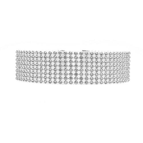 Euramerican Rhinestone Decorative Metal Necklace(Width 2.5cm)