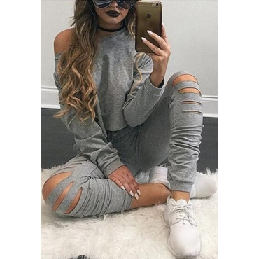 Leisure Round Neck Long Sleeves Hollow-out Grey Cotton Blend Two-piece Pants Set