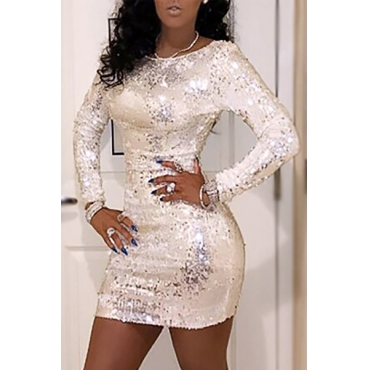 Sexy Round Neck Long Sleeves Sequined Decorative White Sheath Mini Dress