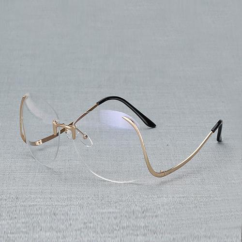 Stylish Rimless Blue PC Sunglasses