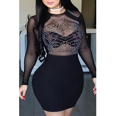 Sexy Round Neck Long Sleeves Net Yarn Splicing Black Qmilch Sheath Mini Dress