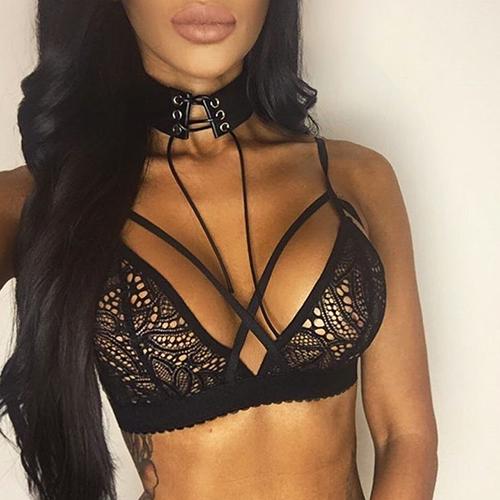 Sexy Spaghetti Strap Hollow-out Black Lace Bralette