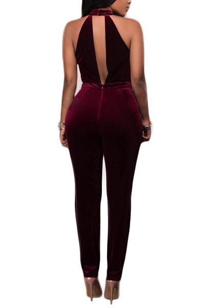 Velvet Solid Skinny Jumpsuits