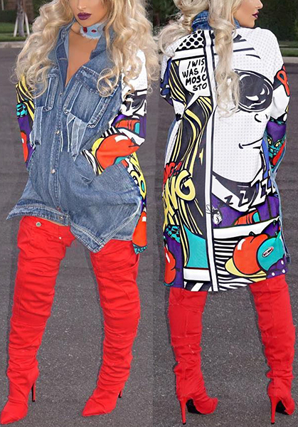 Trendy Turndown Collar Long Sleeves Printed Patchwork Blue Denim Long Coat