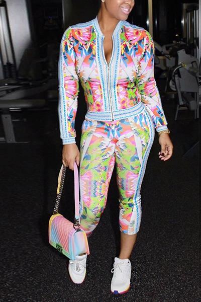 Stylish Mandarin Collar Long Sleeves Printed Healthy Fabric Two-piece Pants Set